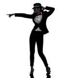 Siluetta alla moda di dancing del ballerino della donna fotografia stock