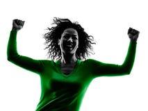 Siluetta alzata armi di felicità della donna isolata Immagine Stock