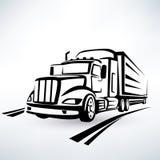 Siluetta americana del camion Immagini Stock Libere da Diritti