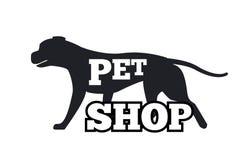 Siluetta animale canina di progettazione del Logotype del negozio di animali Fotografie Stock