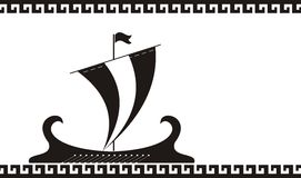 Siluetta antica della nave della Grecia illustrazione vettoriale