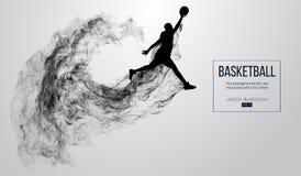 Siluetta astratta di un giocatore di pallacanestro su fondo bianco Il giocatore di pallacanestro che salta ed esegue la schiaccia royalty illustrazione gratis
