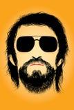 Siluetta barbuta dell'uomo Fotografia Stock Libera da Diritti