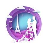 Siluetta bianca degli amanti romantici con la torre Eiffel nello stile del taglio della carta di Parigi Amore Feste di origami pe royalty illustrazione gratis