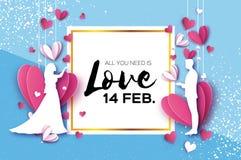 Siluetta bianca degli amanti romantici Tiro della freccia al cuore Incarti i cuori stile del taglio della carta Giorno felice del royalty illustrazione gratis