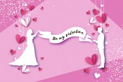 Siluetta bianca degli amanti romantici Tiro della freccia al cuore Incarti i cuori stile del taglio della carta Giorno felice del illustrazione di stock