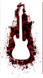 Siluetta bianca della chitarra nel colore rosso liquido Immagini Stock Libere da Diritti