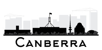Siluetta in bianco e nero dell'orizzonte della città di Canberra illustrazione vettoriale