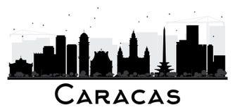 Siluetta in bianco e nero dell'orizzonte della città di Caracas royalty illustrazione gratis