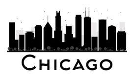 Siluetta in bianco e nero dell'orizzonte della città di Chicago Fotografia Stock