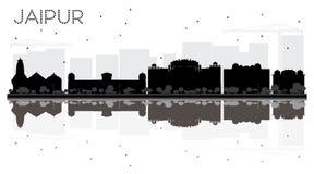 Siluetta in bianco e nero dell'orizzonte della città di Jaipur con le riflessioni royalty illustrazione gratis