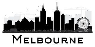 Siluetta in bianco e nero dell'orizzonte della città di Melbourne Fotografia Stock Libera da Diritti