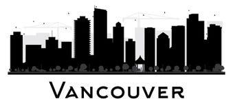 Siluetta in bianco e nero dell'orizzonte della città di Vancouver Immagine Stock