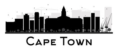 Siluetta in bianco e nero dell'orizzonte della città di Cape Town Fotografie Stock