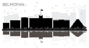 Siluetta in bianco e nero dell'orizzonte di Belmopan Belize City con riferimento Royalty Illustrazione gratis