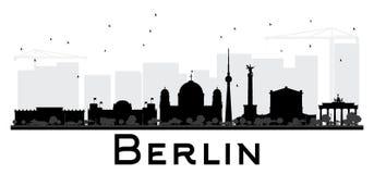 Siluetta in bianco e nero dell'orizzonte di Berlin City Fotografia Stock
