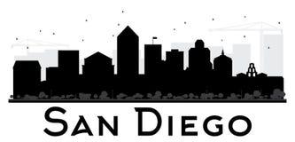 Siluetta in bianco e nero dell'orizzonte di San Diego City Fotografia Stock