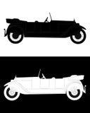 Siluetta in bianco e nero di un'automobile Fotografia Stock
