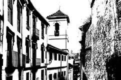 Siluetta in bianco e nero di una chiesa a Granada, Spagna immagini stock
