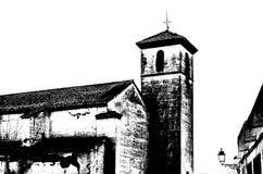 Siluetta in bianco e nero di una chiesa a Granada, Spagna immagini stock libere da diritti