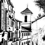 Siluetta in bianco e nero di una chiesa a Granada, Spagna fotografie stock