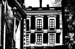 Siluetta in bianco e nero di una scena urbana fotografia stock