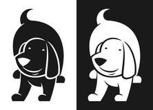 Siluetta in bianco e nero di vettore del carattere del cane royalty illustrazione gratis