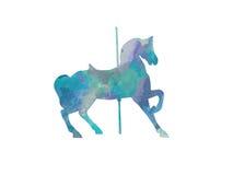 Siluetta blu del cavallo del carosello Immagini Stock