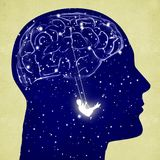 Siluetta capa con il cervello e l'oscillazione Fotografia Stock Libera da Diritti