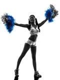 Siluetta cheerleading della ragazza pon pon della giovane donna Fotografia Stock Libera da Diritti