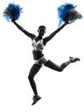 Siluetta cheerleading della ragazza pon pon della giovane donna Immagine Stock