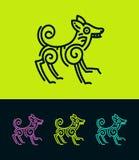 Siluetta colorata del profilo del cane nello stile etnico illustrazione di stock