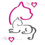 Siluetta Colourful dell'gatti Immagine Stock Libera da Diritti