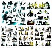 Siluetta combinata Fotografia Stock