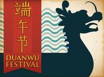 Siluetta con Dragon Boat e nastro per il festival di Duanwu, illustrazione di vettore Fotografia Stock Libera da Diritti