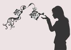 Siluetta con le rose illustrazione vettoriale