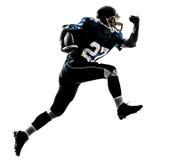 Siluetta corrente dell'uomo del giocatore di football americano immagini stock