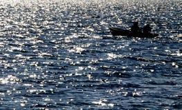 Siluetta dal pescatore Fotografia Stock Libera da Diritti