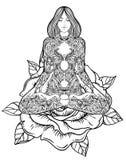 Siluetta decorata della donna che si siede nella posa del loto Meditazione, aura illustrazione vettoriale