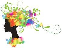 Siluetta decorativa della donna con i fiori Fotografia Stock