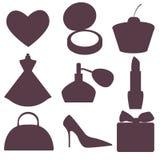 Siluetta degli accessori femminili Immagini Stock