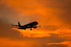 Siluetta degli aerei Fotografia Stock Libera da Diritti