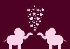 Siluetta degli elefanti degli amanti con i cuori illustrazione di stock