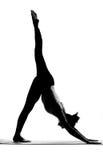 Siluetta degli esercizi di pratica di yoga della donna Immagini Stock