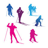 Siluetta degli sport invernali Fotografie Stock