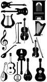 Siluetta degli strumenti musicali Immagine Stock Libera da Diritti