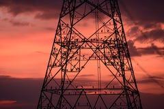 Siluetta degli uccelli sul palo ad alta tensione al tramonto Fotografie Stock