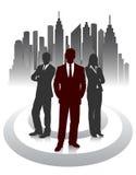 Siluetta degli uomini d'affari su un fondo astratto della città Fotografia Stock
