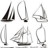 Siluetta degli yacht Immagini Stock
