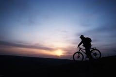 Siluetta dei bicyclis Fotografia Stock Libera da Diritti